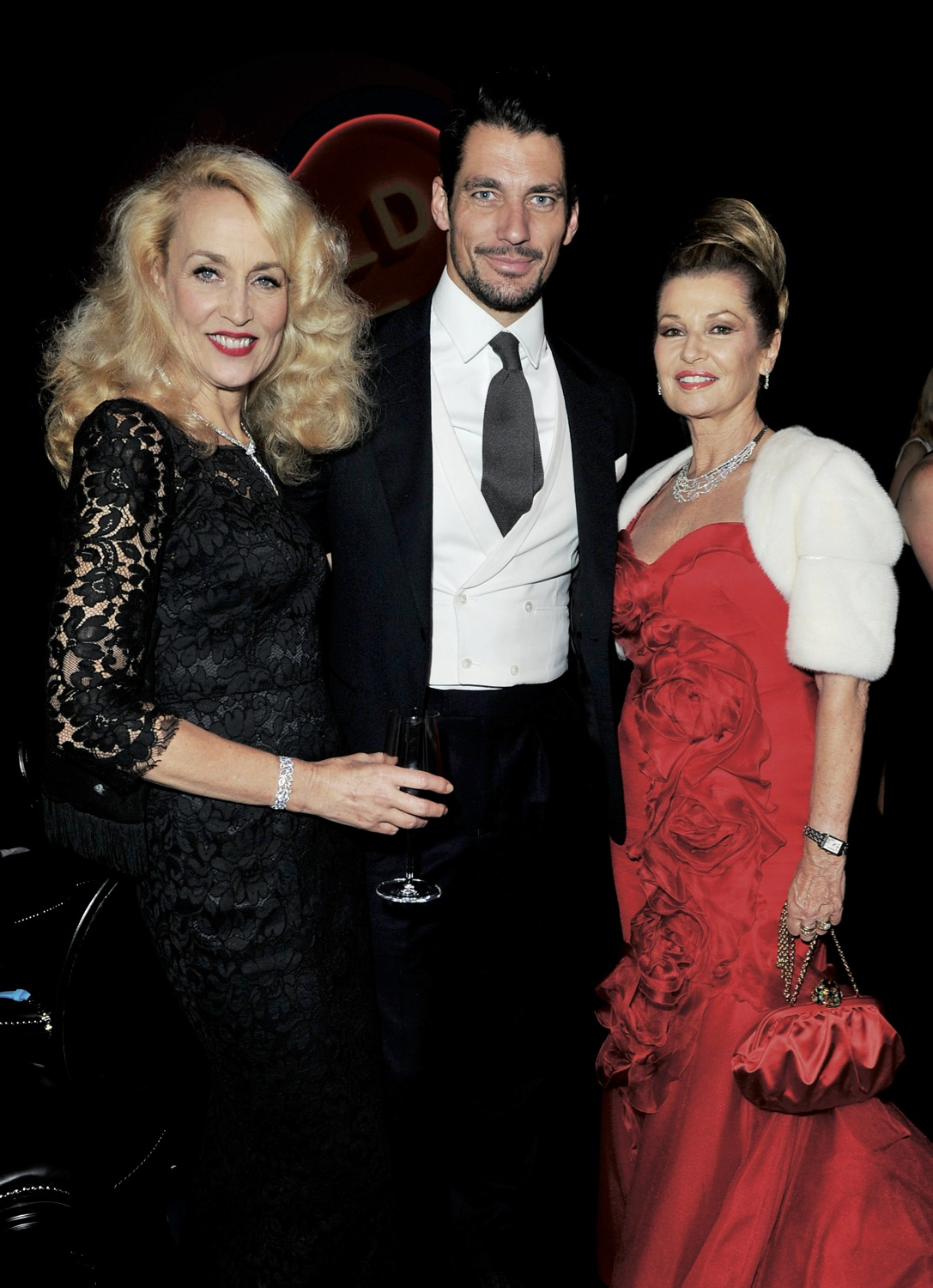 Jerry Hall, David Gandy and Eva Cavalli in Chopard.
