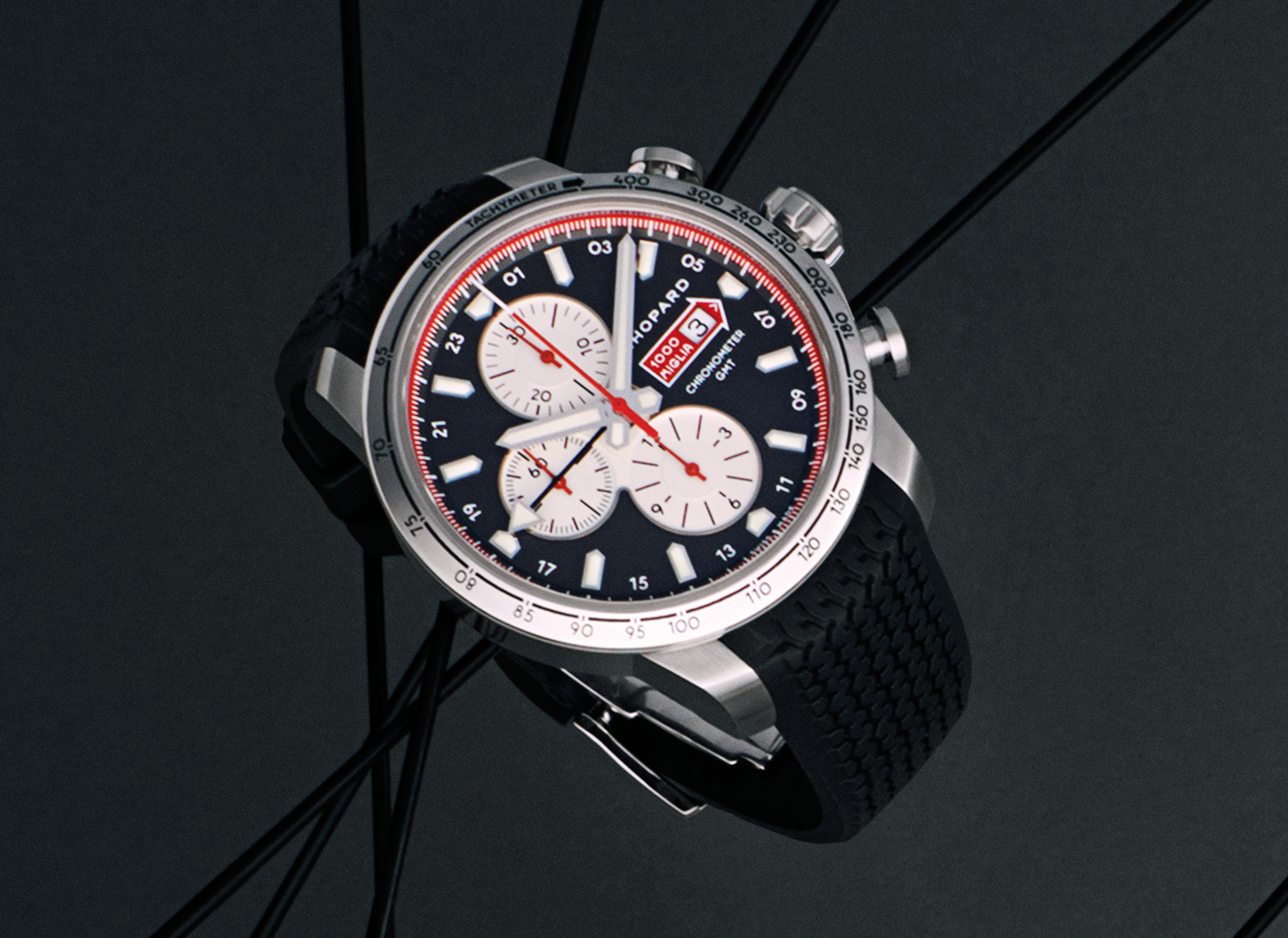 Chopard, Mille Miglia Chronograph  2013 with automatic movement  in steel with rubber wristband,  price app. 7,850 USD, Nymans Ur 1851.